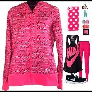 Under Armour(power in pink) jacket/hoodie size M